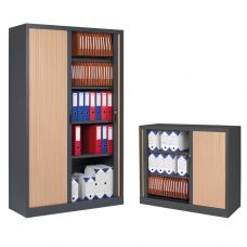 Two-coloured storage cabinets with curtain doors